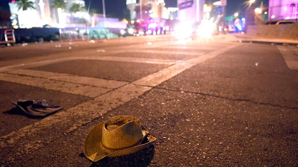 A cowboy hat lays in the street after shots were fired near a country music festival on October 1, 2017 in Las Vegas, Nevada.