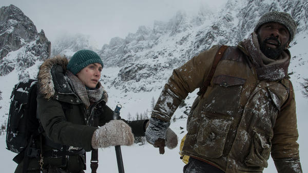 Snow, Crash: Alex (Kate Winslet) and Ben (Idris Elba) struggle for survival and narrative interest in <em>The Mountain Between Us</em>.