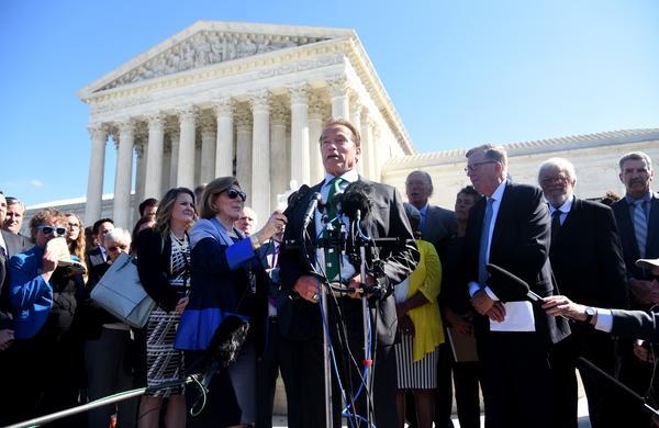 Former Gov. Arnold Schwarzenegger, R-Calif., speaks outside the Supreme Court against partisan gerrymandering.