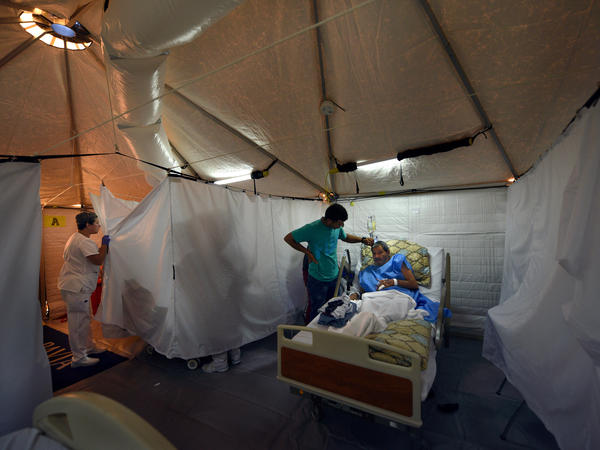The hospital in Arecibo, Puerto Rico, evacuated its coronary floor this week and moved those patients into cooled tents erected by an American disaster medical team.