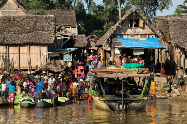Boats pull into the sandy waterfront port of Ambohitsara, where the British nonprofit Marie Stopes holds a contraception clinic a few times a year.