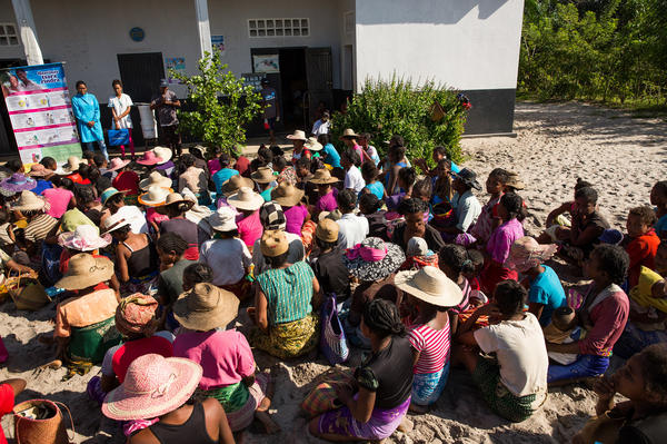 Women gather in Ambohitsara, Madagascar, for a one-day contraception clinic. The international health group Marie Stopes runs mobile clinics in remote parts of the country where women have limited access to birth control.