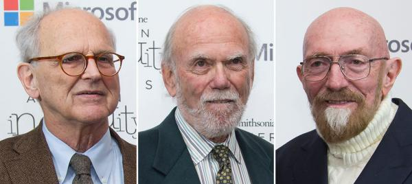 Left to Right: Rainer Weiss, Barry Barish and Kip Thorne, who won the Nobel Physics Prize 2017 for gravitational waves, the Royal Swedish Academy of Sciences announced October 3, 2017 in Stockholm.