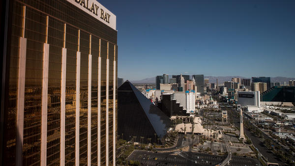 A view of the Mandalay Bay Resort and Casino, overlooking the Las Vegas Strip.