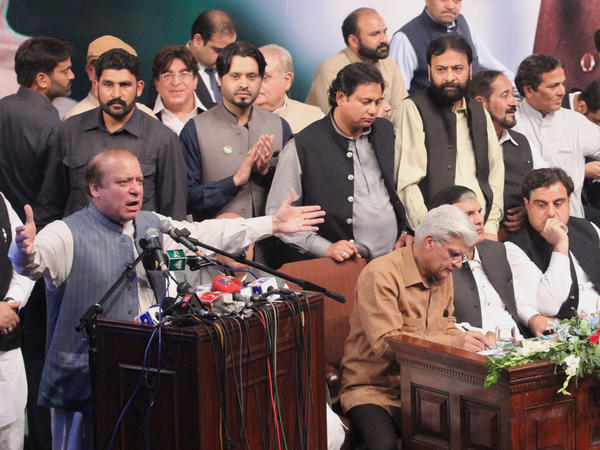 Ousted Pakistani Prime Minister Nawaz Sharif addresses his party workers' convention Oct. 4 in Lahore.