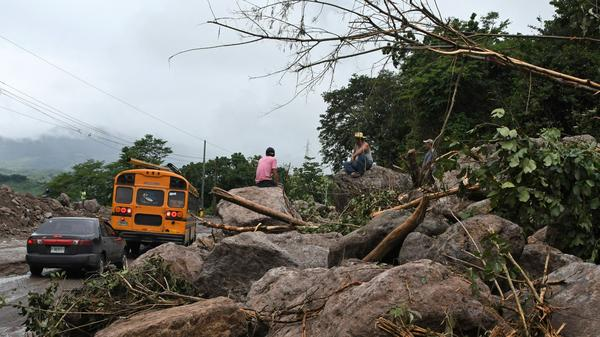 Then-Tropical Storm Nate caused damage near Goascoran, Honduras, on Friday and was blamed for several deaths across Central America. It strengthened to a hurricane as it made its way toward the U.S. Gulf Coast.