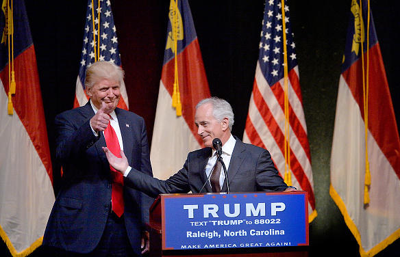 Then-presidential nominee Donald Trump stands next to Sen. Bob Corker, R-Tenn., during a campaign event at the Duke Energy Center for the Performing Arts in July 2016 in Raleigh, N.C.