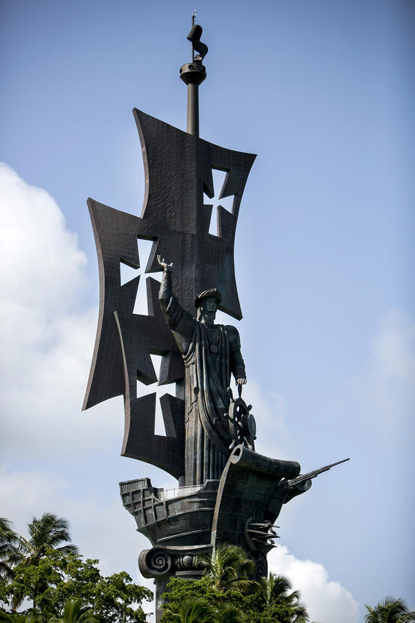 The Birth of the New World statue photographed in August depicts the image of Christopher Columbus standing over Arecibo. Over the years, Puerto Rico has wooed visitors and investors with beaches, sun, tax breaks and splashy public works.