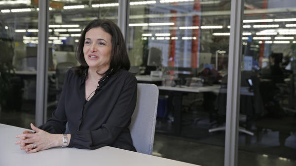 In this photo taken Tuesday Feb. 3, 2015, Facebook chief operating officer Sheryl Sandberg answers questions during an interview at Facebook headquarters in Menlo Park, Calif. Sandberg is in Washington on Capitol Hill this week meeting with lawmakers and investigators.