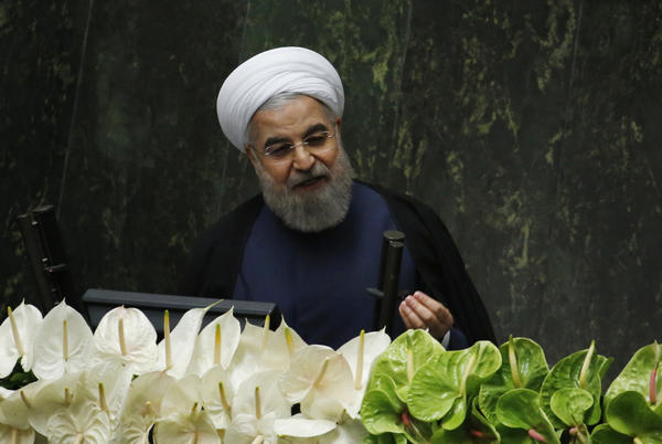 Iranian President Hasan Rouhani delivers a speech during the opening session of the new Parliament in Tehran in 2016.