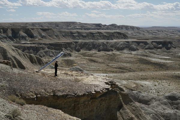 Wolfgang Aichner and Thomas Huber walked in a 400-mile rectangle through Utah, Colorado and Wyoming — pulling their pen behind them — completing the circuit in three weeks. (Courtesy)