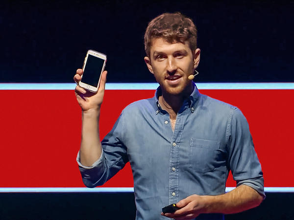 Tristan Harris on the TED stage