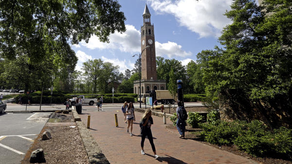 The Bell Tower looms over the campus at the University of North Carolina, Chapel Hill, which has avoided major penalties over a long-running academic scandal that involved its sports teams.
