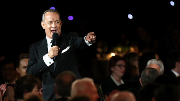 Tom Hanks speaks at the Academy of Motion Picture Arts and Sciences' Governors Awards in 2016. His first book is called <em>Uncommon Type.</em>