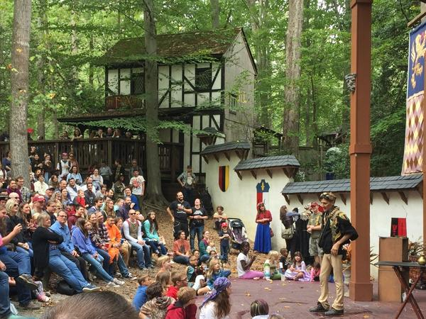 Johnny Fox performs at the Maryland Renaissance Festival, where he's been a sword swallower for decades.