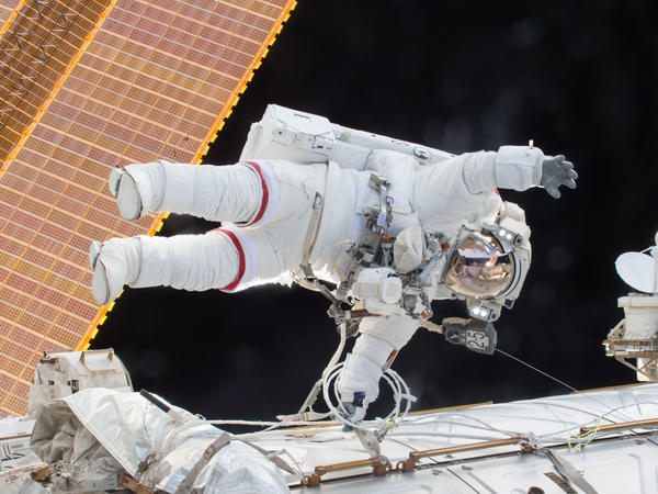 Scott Kelly is seen floating during a spacewalk in 2015.