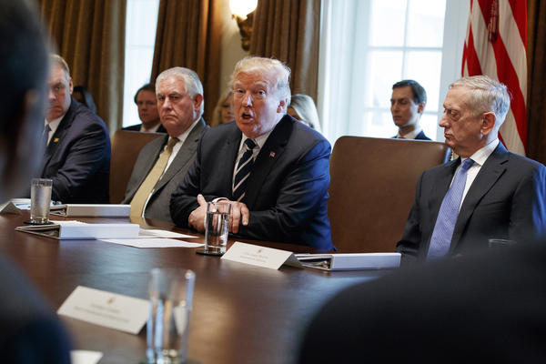 President Trump speaks during a Cabinet meeting at the White House on Monday.