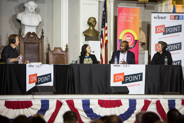 Tom Ashbrook speaks with Celese Ng, Van Jones and Josh Ritter at On Point Live at Faneuil Hall. (Jake Belcher)
