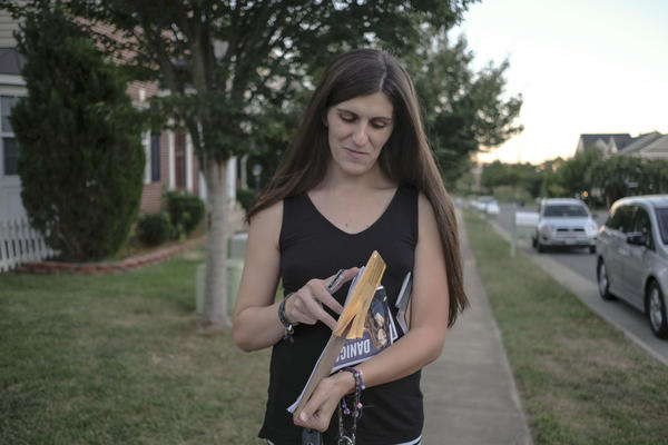 Danica Roem, democratic candidate for Virginia state legislature, canvasses through a neighborhood in Manassas, Va., last month.