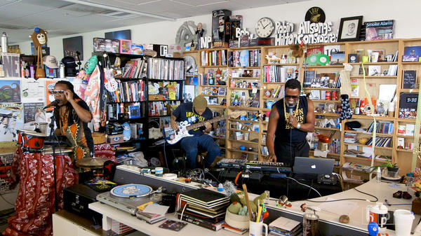 Shabazz Palaces performs a Tiny Desk Concert on Sept. 8, 2017. (Morgan Noelle Smith/NPR)
