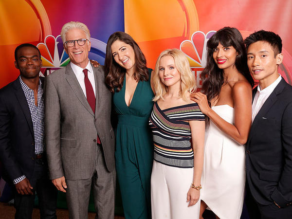 "NBC's ""The Good Place"" cast during the Aug. 2, 2016. press appearance (left to right): William Jackson Harper, Ted Danson, D'Arcy Carden, Kristen Bell, Jameela Jamil, Manny Jacinto."