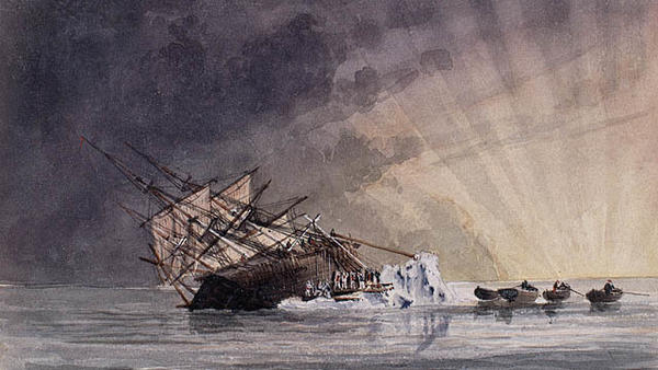 A sketch illustrating the HMS Terror at sunrise.