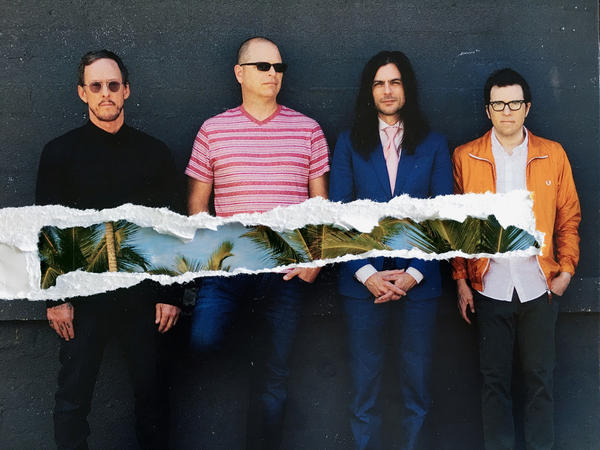 Weezer (left to right): Bassist Scott Shriner, drummer Patrick Wilson, guitarist Brian Bell and frontman Rivers Cuomo