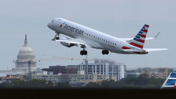 An American Airlines airplane takes off from Ronald Reagan National Airport in Washington, D.C., last month.