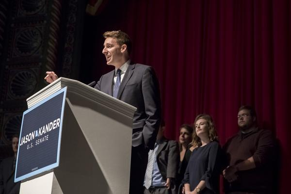 Jason Kander, Democratic candidate for U.S. Senate in Missouri, delivers his concession speech to supporters at Uptown Theater on Nov. 9, 2016 in Kansas City, Mo. (Whitney Curtis/Getty Images)