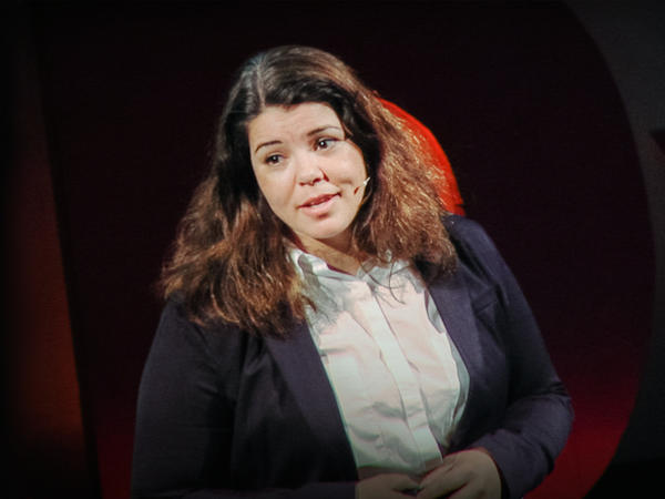 Celeste Headlee on the TED stage
