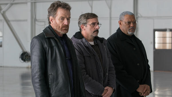 Sal (Bryan Cranston), Doc (Steve Carrell) and Richard (Laurence Fishburne) pay their respects in <em>Last Flag Flying</em>.