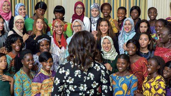 Mrs. Obama welcomes girls from Morocco and Liberia in the State Dining Room before a screening of We Will Rise: Michelle Obama's Mission to Educate Girls Around the World, October 11, 2016. (Official White House Photo by Amanda Lucidon)
