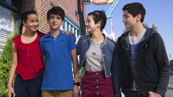 Sofia Wylie, Joshua Rush, Peyton Elizabeth Lee, and Asher Angel star in <em>Andi Mack</em>.