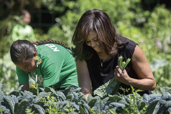 Mrs. Obama harvests kale with students in the White House Kitchen Garden, June 6, 2016. (Official White House Photo by Amanda Lucidon)