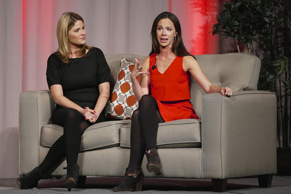 In a file photo, Former First Daughters Barbara Bush, right, and Jenna Bush Hager, speak at a fundraiser luncheon in Nebraska. (Nati Harnik/AP)