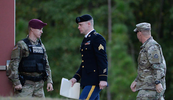 Army Sgt. Bowe Bergdahl is escorted into the Ft. Bragg military courthouse for his sentencing hearing on Monday in Ft. Bragg, N.C.