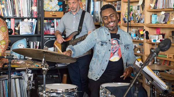 The Nate Smith Band performs a Tiny Desk Concert on Sept. 14, 2017. (Christina Ascani/NPR)
