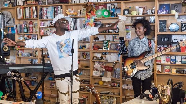 Wyclef Jean performs a Tiny Desk Concert on Oct. 11, 2017. (Christina Ascani/NPR)