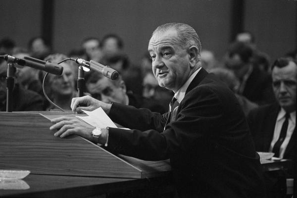 President Lyndon B. Johnson denounces what he called unjustified speculation on how the war is going in South Vietnam and how it might be waged, Feb. 29, 1964. (AP Photo)