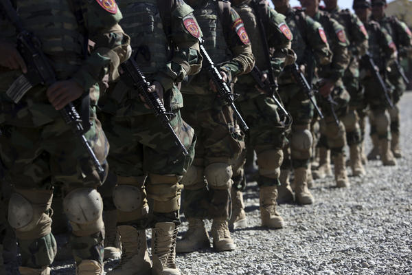 New members of the Afghan special forces attend their graduation ceremony earlier this month at the Afghan Corp, on the outskirts of Kabul.