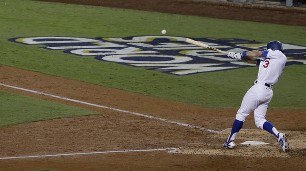 Los Angeles Dodgers' Chris Taylor hit a RBI double off Houston Astros starting pitcher Justin Verlander during the sixth inning of Game 6 of the World Series Tuesday.