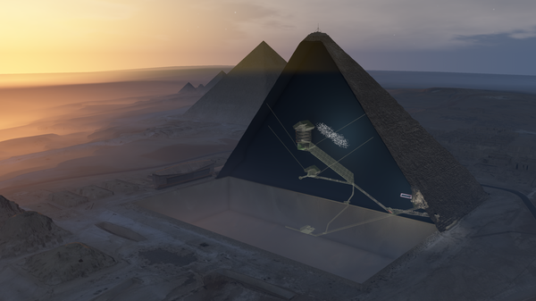 This illustration shows the known rooms of the Great Pyramid, including the Queen's Chamber, the King's Chamber and the long Grand Gallery, along with the newly discovered void, which is depicted as a fuzzy oblong shape.