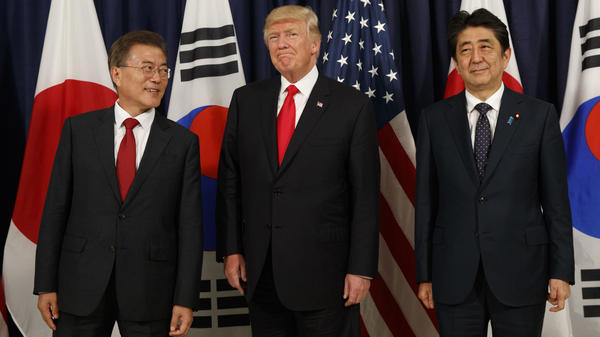 President Trump meets with Japanese Prime Minister Shinzo Abe (right) and South Korean President Moon Jae-in before the Northeast Asia Security dinner at the U.S. Consulate General in Hamburg, Germany, on July 6.