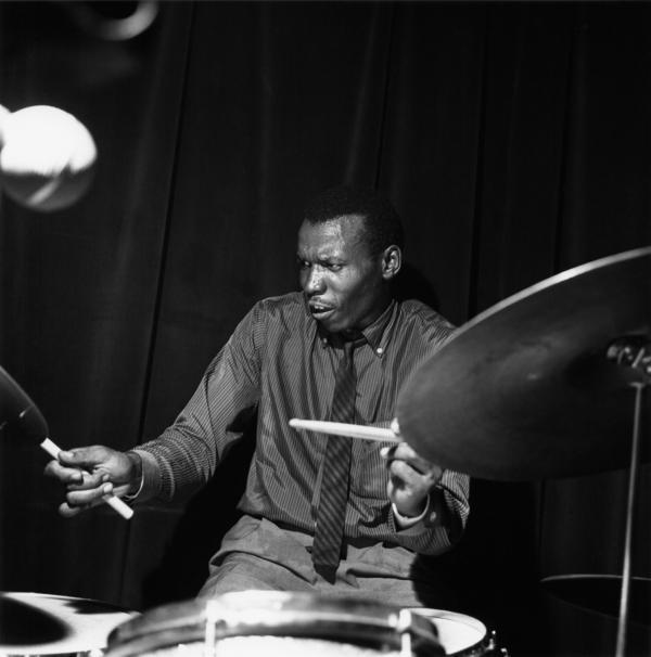 Elvin Jones during the recording of <em>A Night at the Village Vanguard.</em>