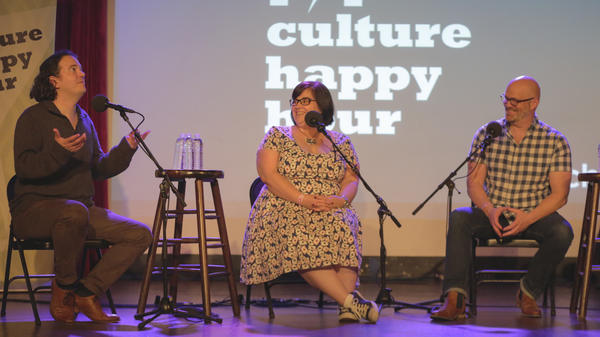 Stephen Thompson, Linda Holmes, and Glen Weldon on stage during <em>Pop Culture Happy Hour</em>'s live show at the Bell House in Brooklyn on June 6, 2017.