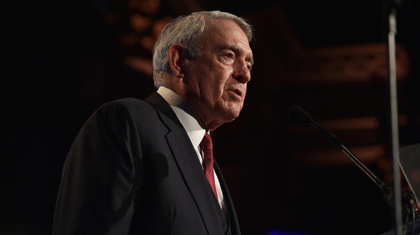 Dan Rather speaks at the Gotham Independent Film Awards in 2015. His new collection of essays is called <em>What Unites Us.</em>