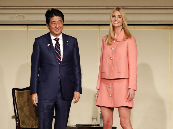 Ivanka Trump and Japanese Prime Minister Shinzo Abe attend a meeting of the World Assembly for Women in Tokyo on Friday.