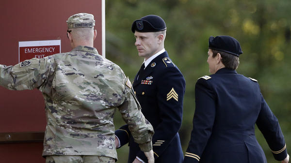 Army Sgt. Bowe Bergdahl (center) arrives at the military courtroom facility for a sentencing hearing at Fort Bragg, N.C., on Friday.
