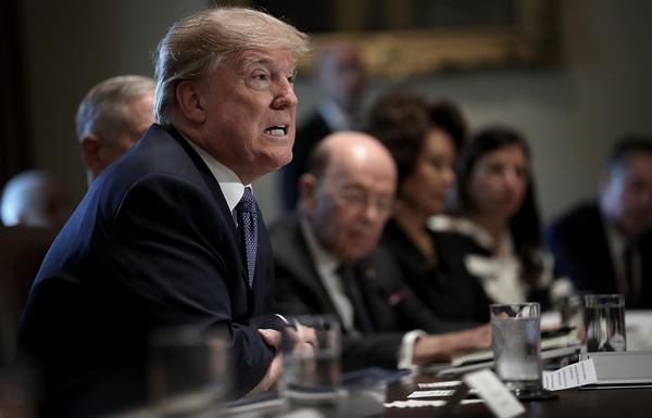 President Trump speaks during a Cabinet meeting and remarks hotly that he wants changes to U.S. immigration laws to possibly prevent future attacks.