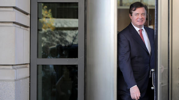 Former Trump campaign chairman Paul Manafort leaves federal court following a hearing Thursday. Manafort and his former business partner Richard Gates pleaded not guilty to a 12-charge indictment.